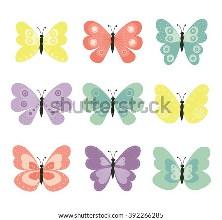 Butterflies. Cute butterflies vector set. Nature,spring.