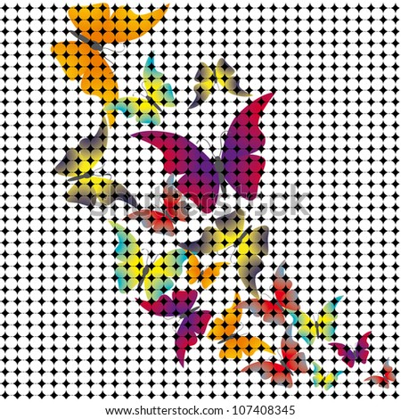 butterflies drawn from the mosaic. Vector illustration - stock vector