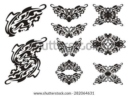 Butterflies elements. Tribal butterflies wings elements tattoos. Black on the white  - stock vector