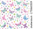 butterflies flowers hearts and dots pattern - stock vector