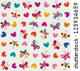butterflies & hearts pattern - stock vector