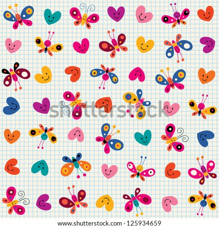 butterflies & hearts pattern