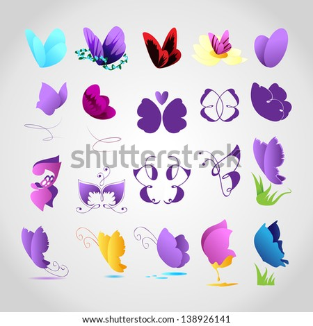 Butterflies Icons - Set - Isolated On Gray Background - Vector Illustration, Graphic Design Editable For Your Design. Butterflies Logo  - stock vector