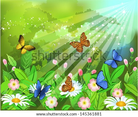 butterflies landscape - stock vector
