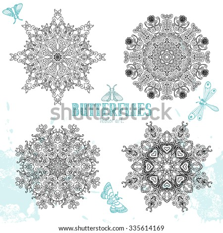 Butterflies, mandalas. Elements for design. Vector artwork. - stock vector