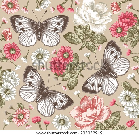 Butterflies, moths. Beautiful pink and white flowers. Vintage beautiful background with Blooming Flowers. Peonies, Chamomile, Wildflowers. Vector Illustration. - stock vector