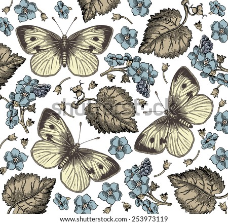 Butterflies, moths. Insect. Beautiful blue flowers. Vintage beautiful background with Blooming Flowers. Wildflowers realistic. Vector Illustration.
