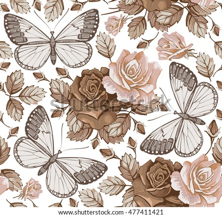 Butterflies, moths, insects. Seamless baroque textile. Beautiful pink and red realistic flowers. Vintage background. Wallpaper. Rose, Wildflowers, summer. Floral. Vector victorian style Illustration.