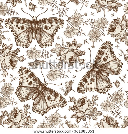 Butterflies, moths, insects. Seamless baroque textile. Wallpaper. Beautiful realistic blooming flowers. Vintage background. Rose, Chamomile, Wildflowers. Flora. Vector victorian style Illustration. - stock vector