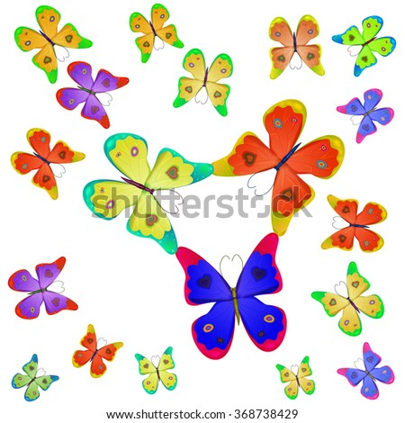 butterflies of different colors on a white background - stock vector