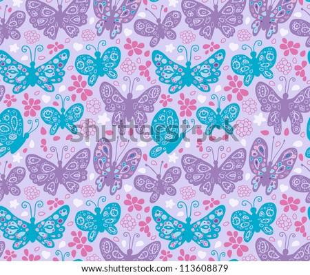 Butterflies pattern - stock vector