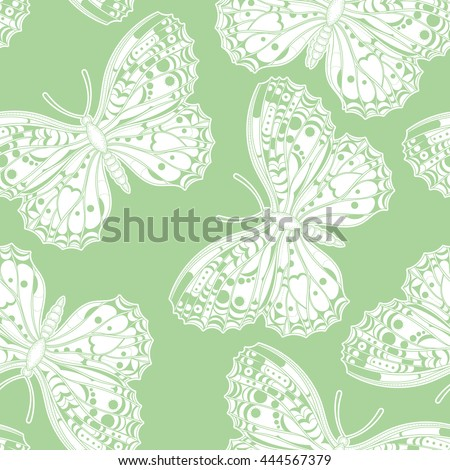 Butterflies pattern. Vector abstract background. Seamless yellow and white wallpaper. - stock vector