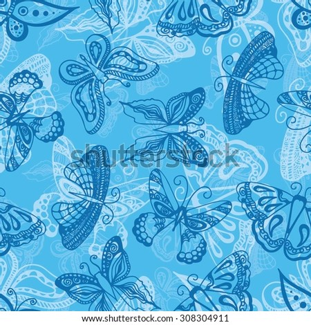 Butterflies silhouettes in hand-drawn style for tattoo design. Vector decorative doodle seamless. - stock vector