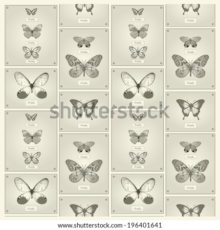 Butterflies. Vector. Beautiful background. - stock vector