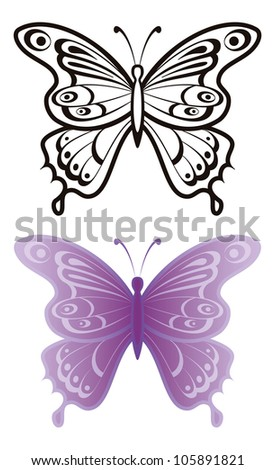 Butterflies with open wings, black contour and monochrome lilac, isolated on white background. Vector - stock vector