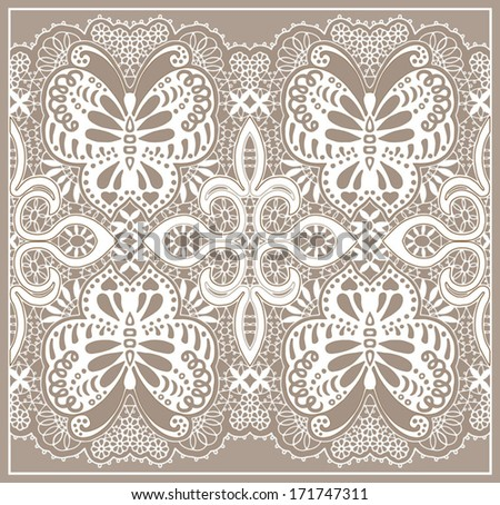 Butterfly abstract decoration. Ornamental lace pattern, seamless fabric with flowers, design element, hand drawn sketch, ornate detailed background - stock vector
