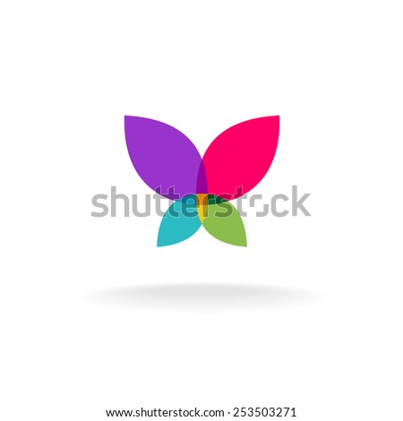 Butterfly abstract logo. Colorful vector silhouette of a butterfly with throw open wings. Transparency are flattened. - stock vector