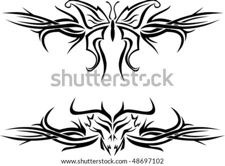 butterfly evil skull tattoos tribal designs stock vector 48697102 shutterstock. Black Bedroom Furniture Sets. Home Design Ideas