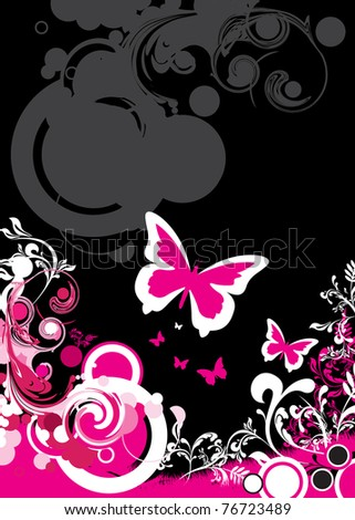 butterfly and floral background - stock vector