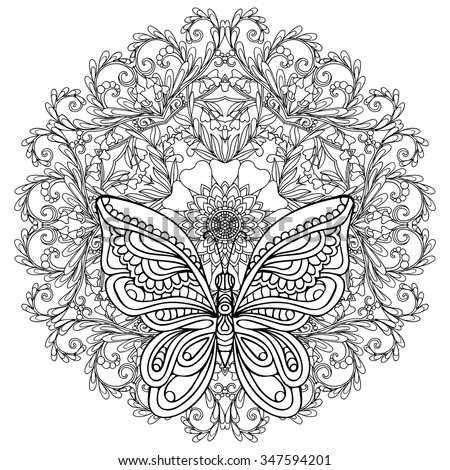 Butterfly And Floral Mandala Coloring Book For Adult Older Children Page