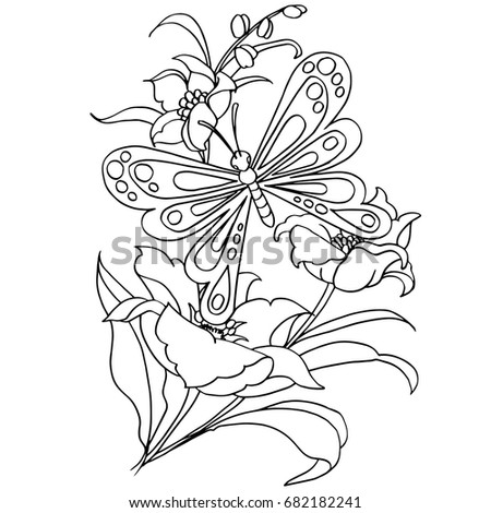 Butterfly Flower Cartoon Coloring Page Vector Stock Vector