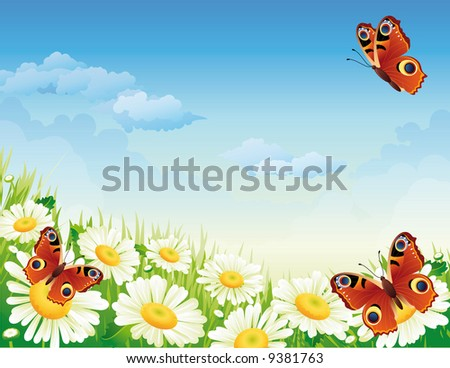 butterfly and flowers - stock vector