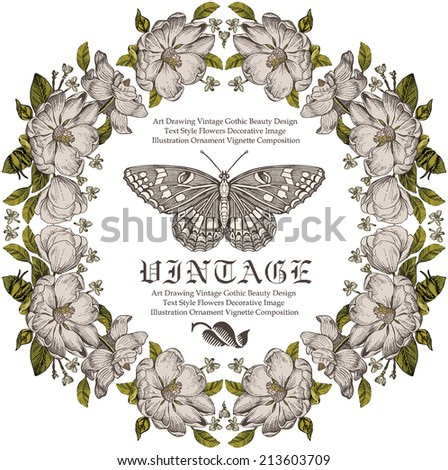 Butterfly. Beautiful white baroque flowers. Vintage greeting card blooming flowers. Invitation. Frame. Drawing, engraving. Freehand. Brier, dog-rose, rosehip. Flora. Vector victorian Illustration.