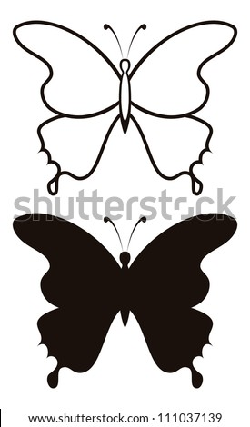 Butterfly, black silhouettes with opened wings, isolated on white background. Vector - stock vector