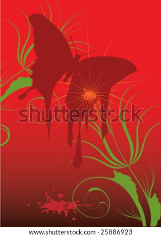 butterfly ,blood on red decorative background