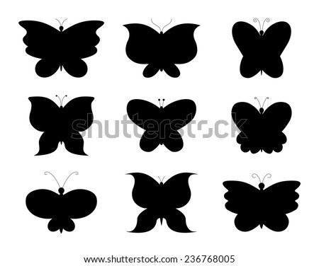 Butterfly collage. Collection of butterflies, black silhouettes design. vector art image illustration, isolated on white background - stock vector