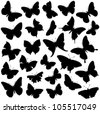 Butterfly collection - vector silhouette - stock vector