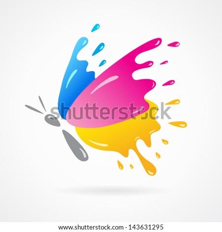 butterfly colored cmyk print splash - stock vector