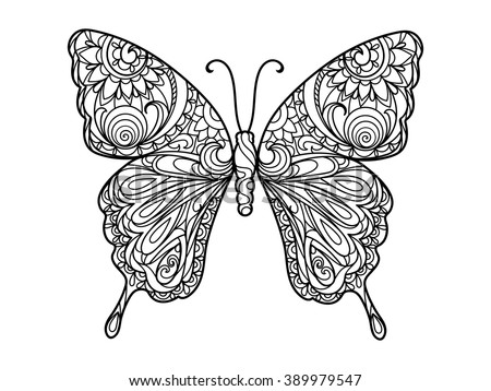 Butterfly Coloring Book Adults Vector Illustration Stock Vector HD ...
