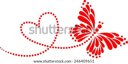 Butterfly, Heart, Forever Love, Valentine´s Day - stock vector