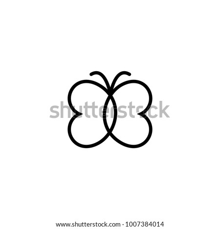 Butterfly Icon Abstract Modern Decoration Vector Illustration One Line Drawing Fancy