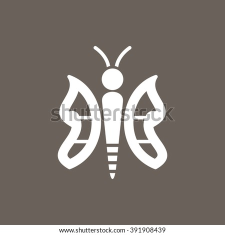 Butterfly Icon on Dark Gray Color. Eps-10.