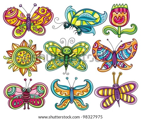 Butterfly icon set. Beautiful, cartoon, colorful butterflies with open wings isolated  on white backgrounds, Icons set for you designs
