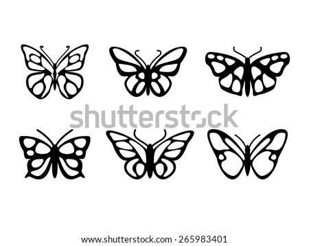 Butterfly icons set - stock vector