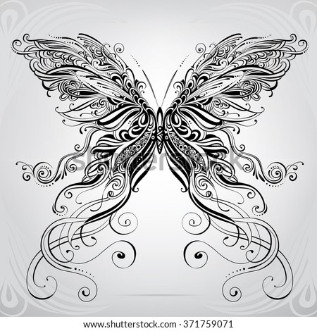 Butterfly in an ornament - stock vector