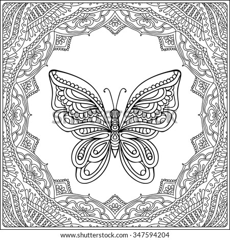 Butterfly In Fecorative Frame Coloring Book For Adult And Older Children Page
