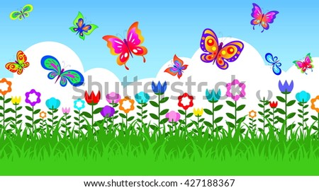 Butterfly In Garden And Flower