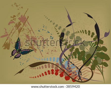 Butterfly in grunge garden vector illustration with earth tone plants. - stock vector