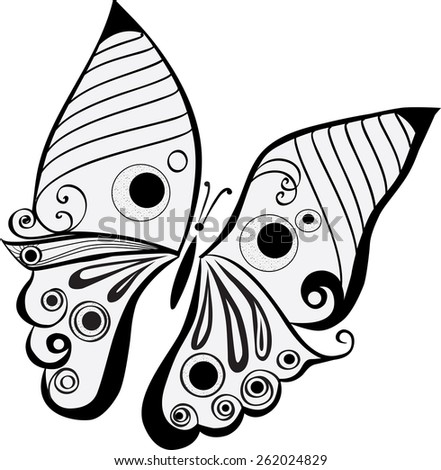 Butterfly in line art. - stock vector