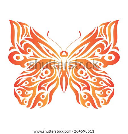Butterfly in tribal design. Ideal for tattoo, print, poster, card or invitation. - stock vector