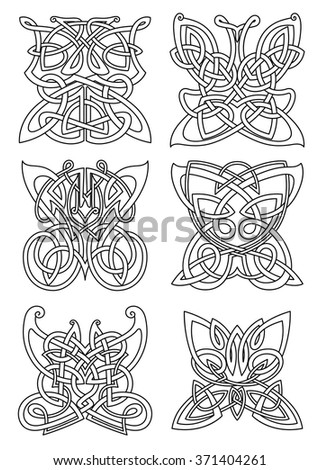 Butterfly insect tribal celtic ornaments set with swirl wings and bodies. For tattoo, print or religious art design - stock vector