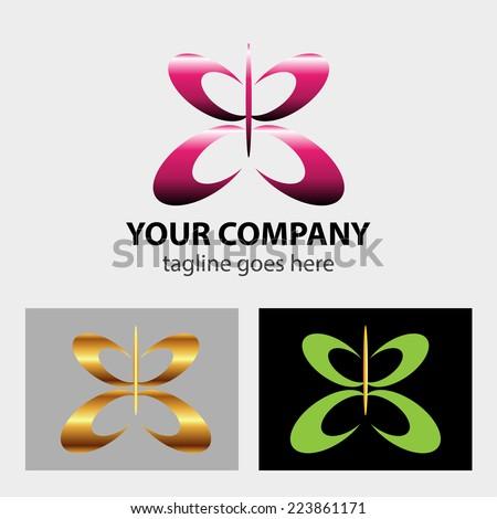 Butterfly logo icon vector - stock vector