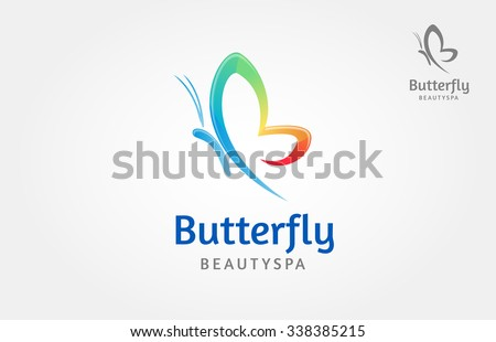 Butterfly logo, this logo symbolize, some thing beautiful, soft, calm, nature, metamorphosis, graceful, and elegant.  - stock vector