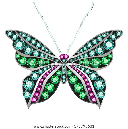 butterfly made of colored gems - stock vector