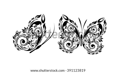 Butterfly made of patterns. Vector - stock vector