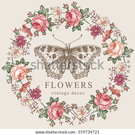 Butterfly moth insect. Greeting invitation card, label. Beautiful frame. Flowers. Chamomile Rose Wildflowers. Engraving, drawing. Freehand realistic. Flora. Fauna. Vector victorian style Illustration. - stock vector